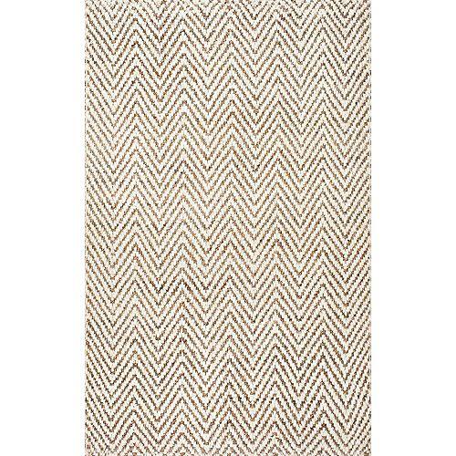 Tapis d'intérieur de jute, 4 pi x 6 pi, Vania Chevron, ivoire