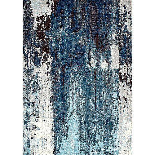 Tapis d'intérieur à motif abstrait Haydee, 9 pi x 12 pi, bleu