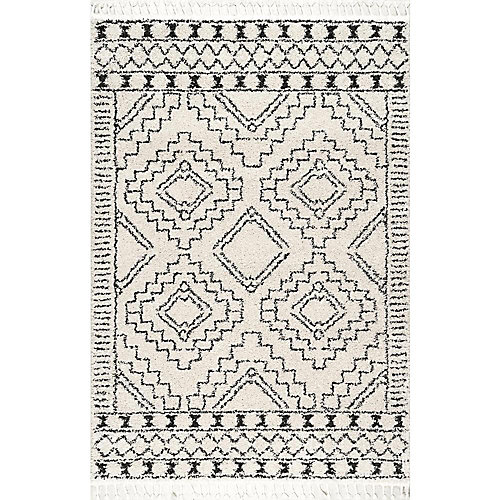 Vasiliki Moroccan Tribal Tassel Rug Off-White 4 ft. x 6 ft. Indoor Area Rug