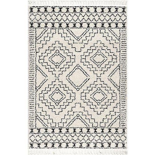 Vasiliki Moroccan Tribal Tassel Rug Off-White 4 ft. x 6 ft. Indoor Area Rug