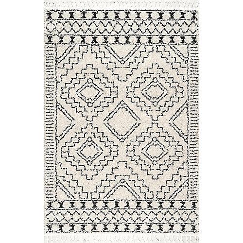 Vasiliki Moroccan Tribal Tassel Rug Off-White 5 ft. 3-inch x 7 ft. 7-inch Indoor Area Rug