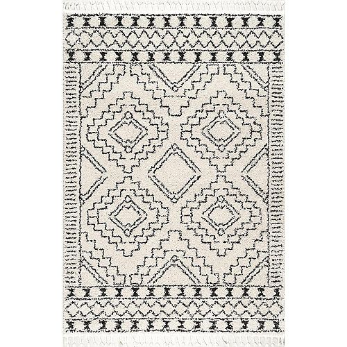 Vasiliki Moroccan Tribal Tassel Off-White 7 ft. 10-inch x 10 ft. Indoor Area Rug