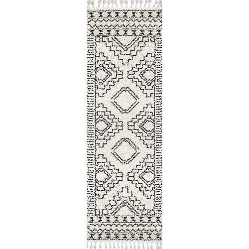 Vasiliki Moroccan Tribal Tassel Rug Off-White 2 ft. 8-inch x 8 ft. Indoor Runner