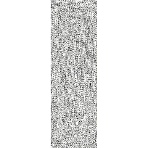 Tapis de passage d'intérieur tressé, 2 pi 6 po x 10 pi, Lefebvre, noir et blanc