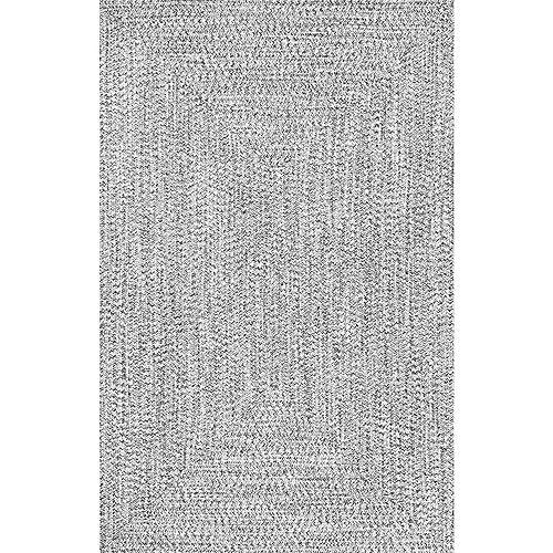 Tapis d'intérieur tressé, 8 pi, Lefebvre, noir et blanc