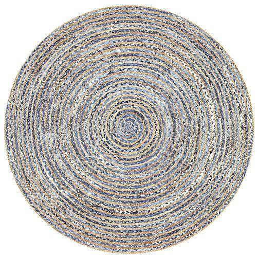 Tapis d'intérieur jute tissé à la main rayé, 6 pi, Dara, bleu