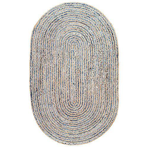Tapis d'intérieur jute tissé à la main rayé, 5 pi x 8 pi, Dara, bleu