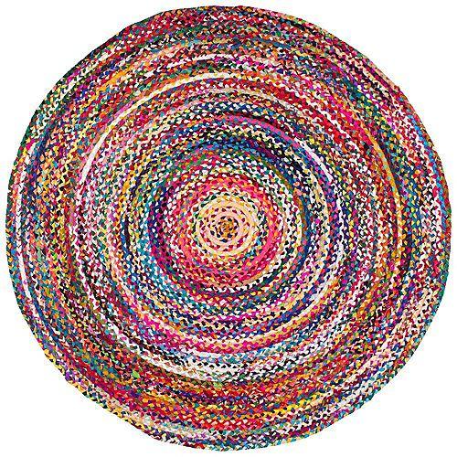 Hand Braided Tammara Multi-Coloured 6 ft. Indoor Round Rug