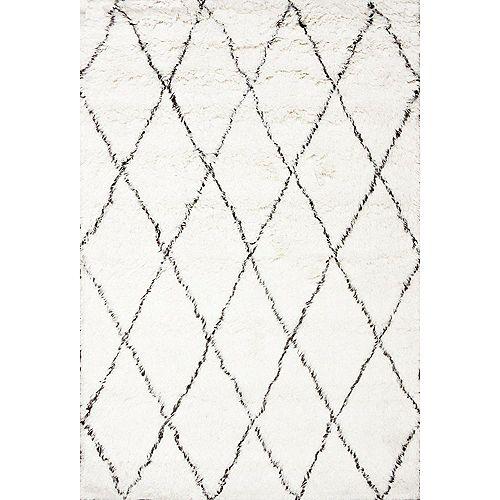 Tapis d'intérieur fait à la main, 2 pi x 3 pi, Marrakech Shag, ivoire