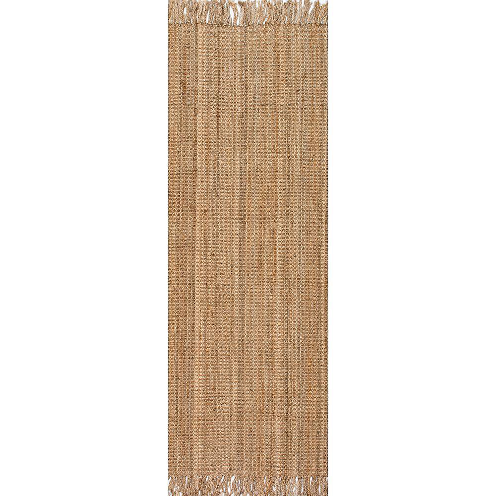 nuLOOM Hand Woven Chunky Loop Jute Natural 2 ft. 6-inch x 8 ft. Indoor Runner