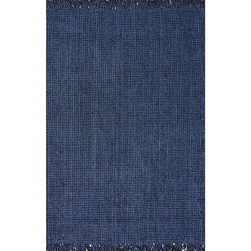 Tapis d'intérieur tissé à la main de jute, 4 pi x 6 pi,, bleu marin