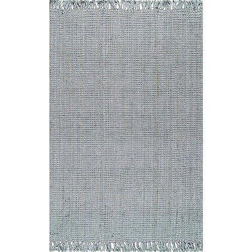 Tapis d'intérieur tissé à la main de jute, 8 pi 6 po x 11 pi 6 po,, gris