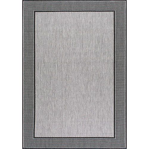 Tapis d'extérieur faite à la machine, 7 pi 6 po x 10 pi 9 po, Gris, gris