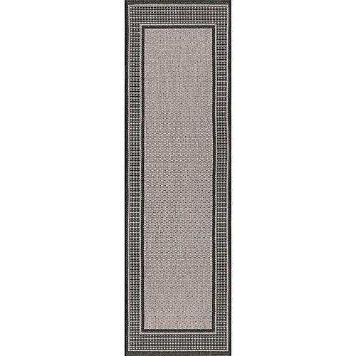 Tapis de passage d'extérieur faite à la machine, 2 pi 3 po x 7 pi 10 po, Gris, gris