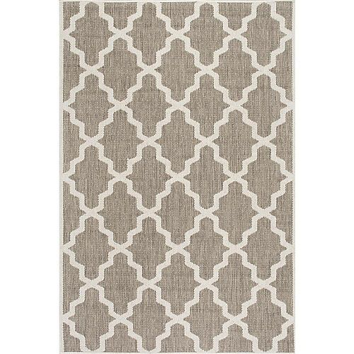 Machine Made Gina Outdoor Moroccan Trellis Taupe 7 ft. 6-inch x 10 ft. 9-inch Indoor Area Rug