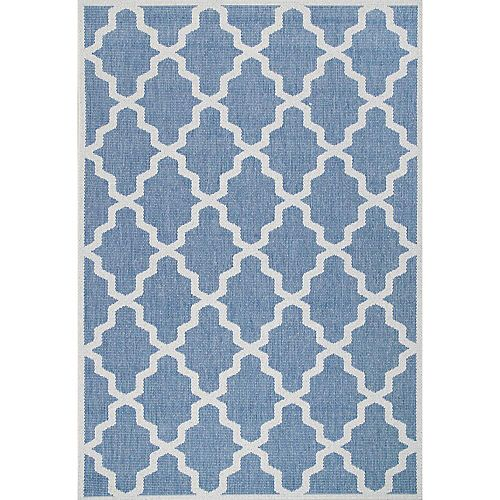 Machine Made Gina Outdoor Moroccan Trellis Blue 5 ft. 3-inch x 7 ft. 6-inch Indoor Area Rug