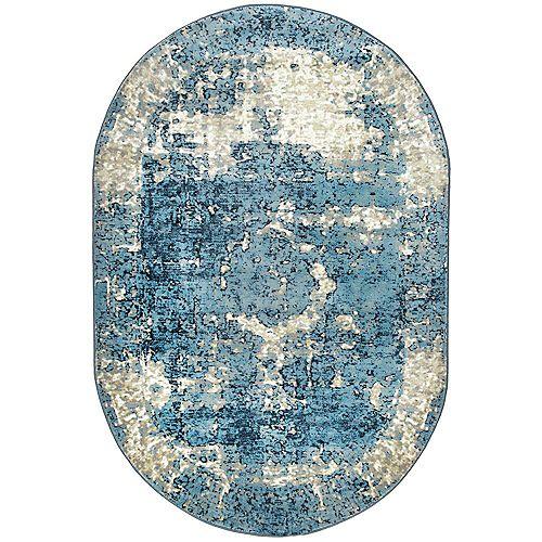 Tapis d'intérieur, 5 pi 11 po x 9 pi, Lindsy, bleu
