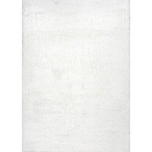 Tapis d'intérieur, 6 pi 7 po x 9 pi, Gynel Nuageux Shag, blanc