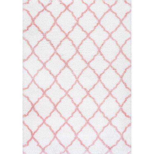 Nelda Trellis Kids Shag Baby Pink 5 ft. 3-inch x 7 ft. 6-inch Indoor Area Rug