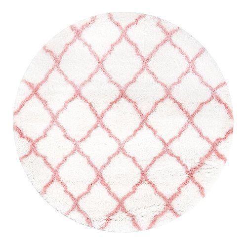 Nelda Trellis Kids Shag Baby Pink 5 ft. 3-inch Indoor Round Rug