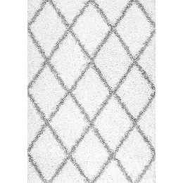 Shanna Shaggy White 7 ft. 10-inch x 10 ft. Indoor Area Rug