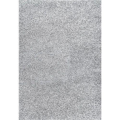 Marleen Plush Shag Rug Silver 6 ft. 7-inch x 9 ft. Indoor Area Rug