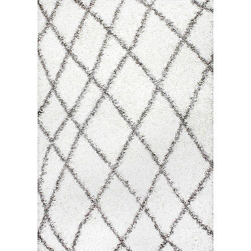 Luna Trellis Shag White 4 ft. x 6 ft. Indoor Area Rug