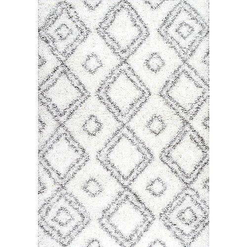 Tapis d'intérieur, 7 pi 10 po x 10 pi, Iola Shag, blanc