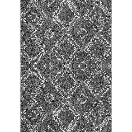 Tapis d'intérieur, 6 pi 7 po x 9 pi, Iola Shag, gris