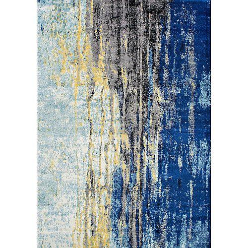 Tapis d'intérieur, 4 pi x 6 pi, Katharina, bleu