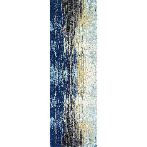 Tapis de passage d'intérieur, 2 pi 8 po x 12 pi, Katharina, bleu