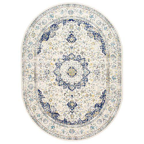 Verona Rug Blue 6 ft. 7-inch x 9 ft. Indoor Oval Rug