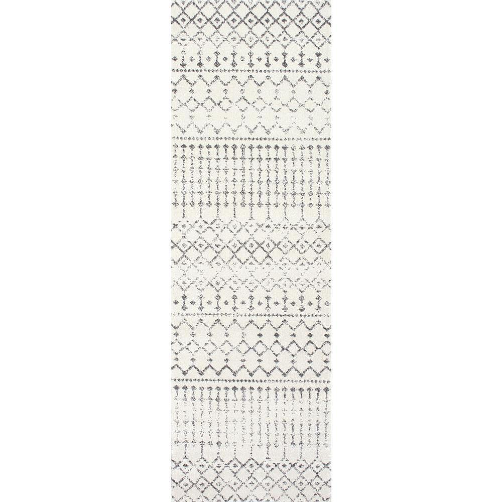 nuLOOM Moroccan Blythe Grey 2 ft. 8-inch x 8 ft. Indoor Runner