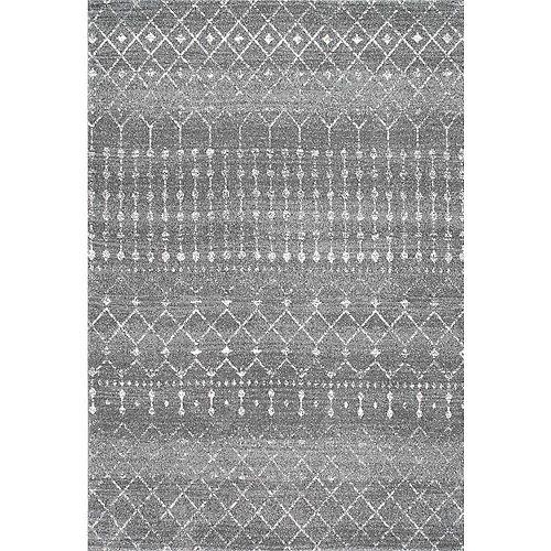 Tapis d'intérieur Moroccan Blythe, 5 pi x 7 pi 5 po, gris foncé