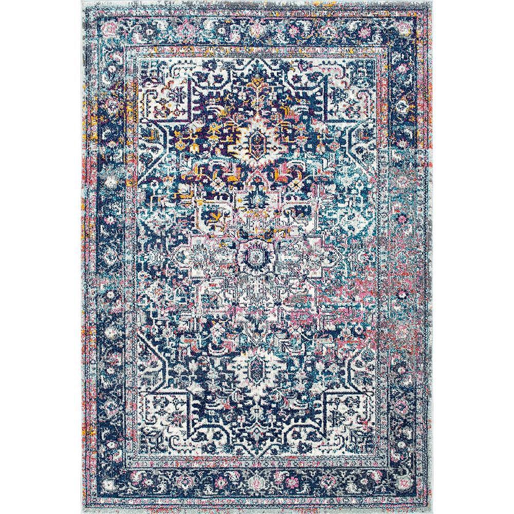 nuLOOM Persian Vintage Raylene Blue 5 ft. x 7 ft. 5-inch Indoor Area Rug