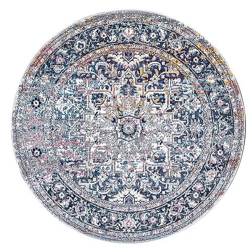 Persian Vintage Raylene Blue 6 ft. Indoor Round Rug