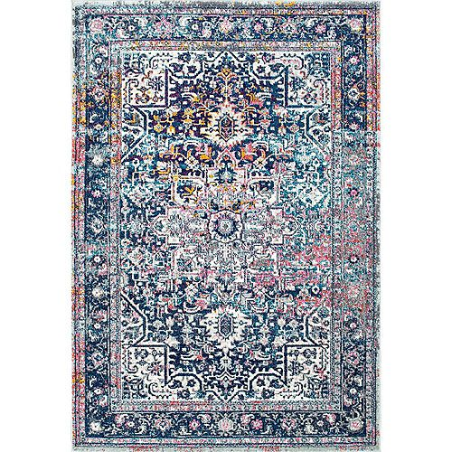 Persian Vintage Raylene Blue 6 ft. 7-inch x 9 ft. Indoor Area Rug