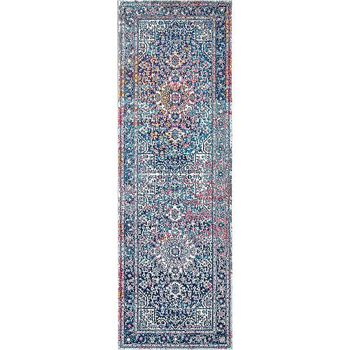 Persian Vintage Raylene Blue 2 ft. 8-inch x 12 ft. Indoor Runner
