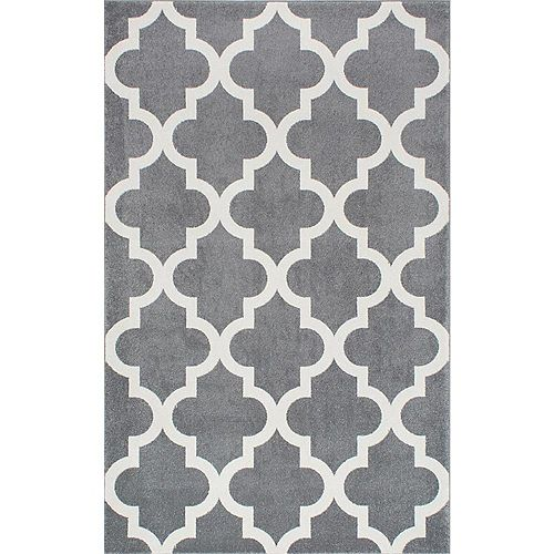 nuLOOM Meeker Trellis Grey 5 ft. 3-inch x 7 ft. 7-inch Indoor Area Rug