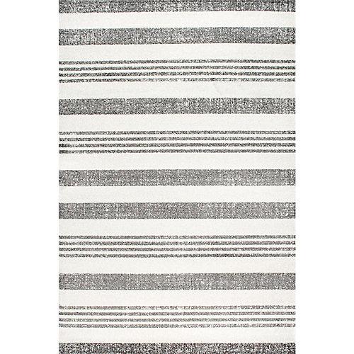 Striped Kelsi Grey 4 ft. x 6 ft. Indoor Area Rug