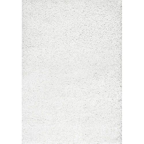 Tapis d'intérieur à poil long fabriqué à la machine, 5 pi 3 po x 7 pi 6 po, blanc