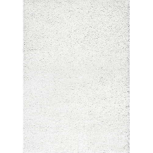 Machine Made Shag White 7 ft. 10-inch x 10 ft. Indoor Area Rug
