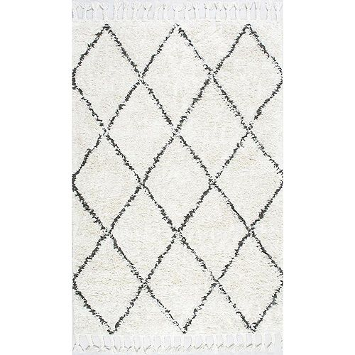 Hand Knotted Fez Shag Natural 5 ft. x 8 ft. Indoor Area Rug