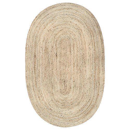 Tapis d'intérieur tissé à la main de jute, 5 pi x 8 pi, Rigo, naturel