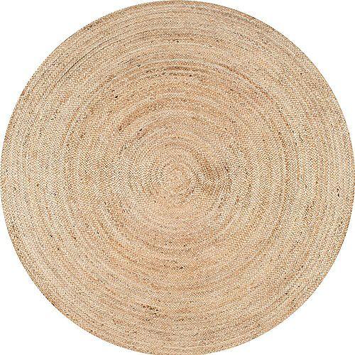 Hand Woven Rigo Jute Rug Natural 8 ft. Indoor Round Rug
