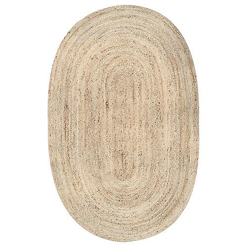 Hand Woven Rigo Jute Rug Natural 2 ft. 3-inch x 4 ft. Indoor Oval Rug