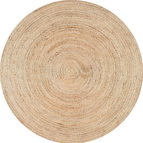 Hand Woven Rigo Jute Rug Natural 4 ft. Indoor Round Rug
