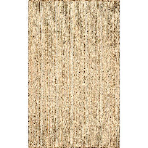 Tapis d'intérieur tissé à la main de jute, 6 pi x 9 pi, Rigo, naturel