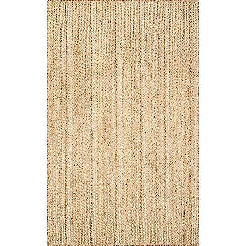 Hand Woven Rigo Jute Rug Natural 8 ft. x 10 ft. Indoor Area Rug