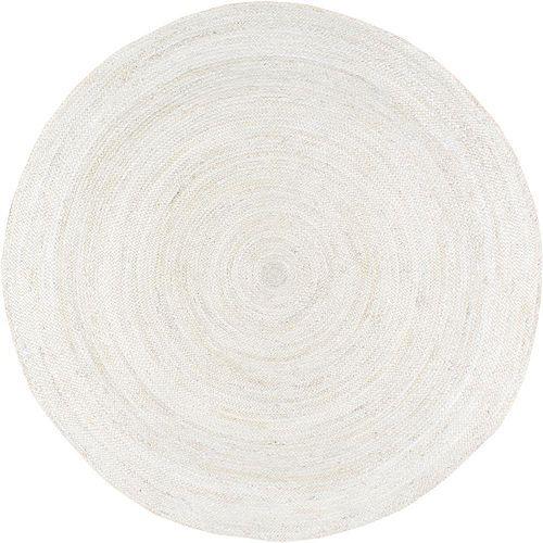 Hand Woven Rigo Jute Rug Off-White 4 ft. Indoor Round Rug